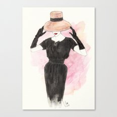 'Audrey' Watercolor Fashion Illustration Canvas Print
