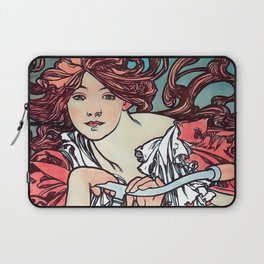 Cycles Perfecta by Alphonse Mucha 1902 // Cropped Vintage Advertisement Bicycle Girl with Long Hair Laptop Sleeve