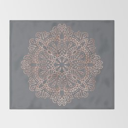 Mandala Rose Gold Pink Shimmer on Soft Gray by Nature Magick Throw Blanket