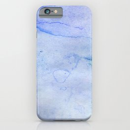 Hand painted blue green abstract watercolor pattern iPhone Case