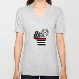 Wisconsin Firefighter Shield Thin Red Line Flag Unisex V-Neck