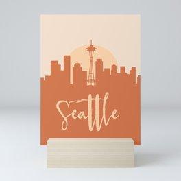 SEATTLE WASHINGTON CITY SUN SKYLINE EARTH TONES Mini Art Print