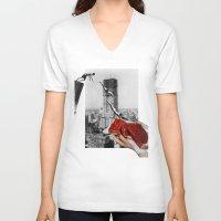 metropolis V-neck T-shirts featuring Metropolis by Lerson