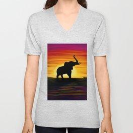 Elephant Sunset Unisex V-Neck