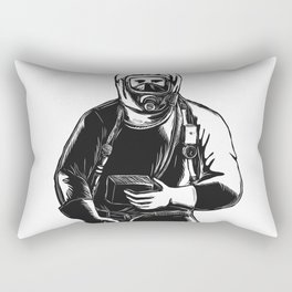 EMT Wearing Hazmat Suit Scratchboard Rectangular Pillow