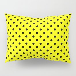 Polka dots Black dots over yellow Pillow Sham