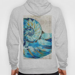 Tropical Blue Beach Art - Nautilus Shell Bleu 2 - Sharon Cummings Hoody