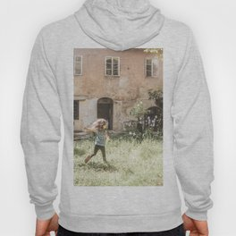 Playful in Nature | Happy Wild Skipping Child Vintage Outdoor Field Rustic Charming Country Farm Hoody