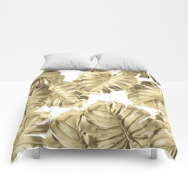 Gold Monstera Leaves on White 2 Comforters