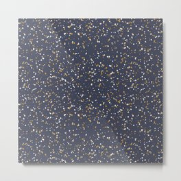 Speckles I: Dark Gold & Snow on Blue Vortex Metal Print