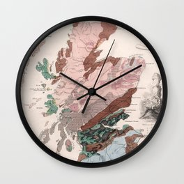 Vintage Geological Map of Scotland (1850) Wall Clock