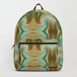 Blue-green and Brown pattern Backpack