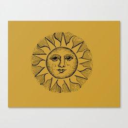 Vintage Mustard Celestial Sun Canvas Print