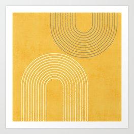 Golden Minimalist Abstract Art Print