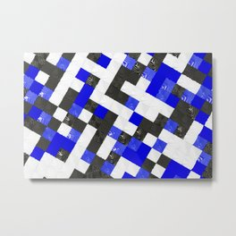 Pattern of black, white and blue cubes Metal Print