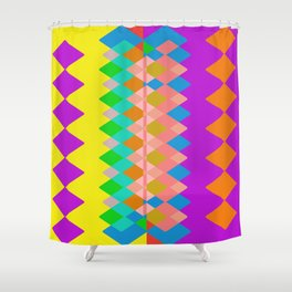 Vibrant Diamond Geometric Purple Yellow Shower Curtain