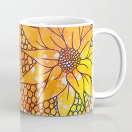 Black flowers on neon painting Coffee Mug