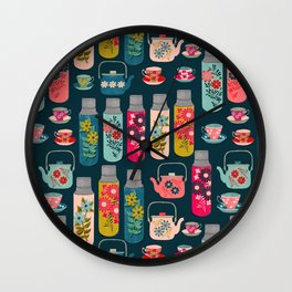 Vintage Thermos - Teacups and Teapots by Andrea Lauren Wall Clock