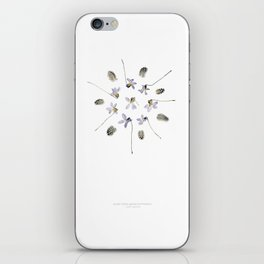 wildflower mandala... purple violets, guinea fowl feathers iPhone Skin