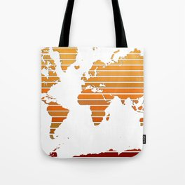 World Map - Colorful stripes Orange to Brown Tote Bag