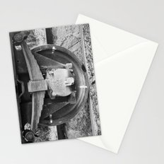 Black and white photography Old train wheel Stationery Cards