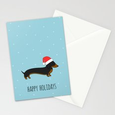 Santa Dachshund Stationery Cards