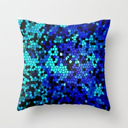 STAINED GLASS BLUES Throw Pillow