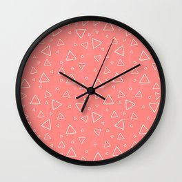Pastel Red Triangle Pattern Wall Clock