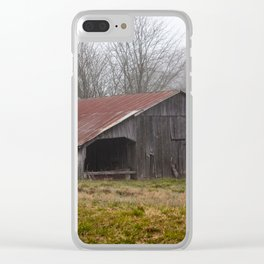 Barn in the Mist - Rustic Barn with Red Tin Roof on Foggy Day in Arkansas Clear iPhone Case