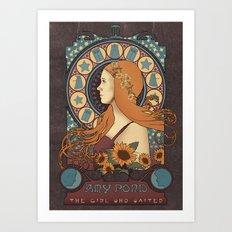 Amy Pond art nouveau , Doctor Who , TARDIS Art Print