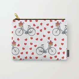 Vintage bicycles and love hearts Carry-All Pouch
