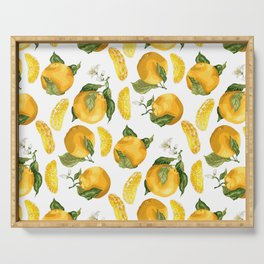 Blooming flowers and juicy citrus fruits with slices Serving Tray