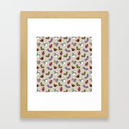 Snowmen and Robins, Holly and Stockings Framed Art Print