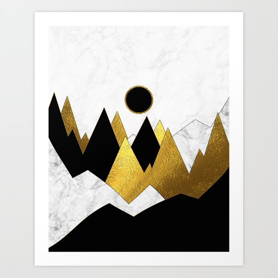 Landscape Marble, Black & Gold Art Print