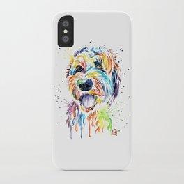 Goldendoodle, Golden Doodle Watercolor Pet Portrait Painting iPhone Case