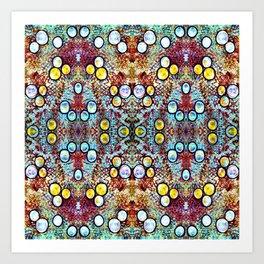 Colorful Gold Circles Pattern Art Print