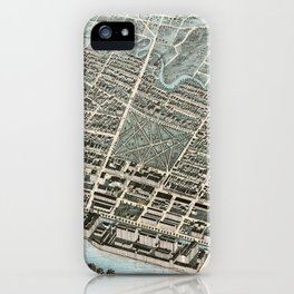 Vintage Pictorial Map of Lawrence Massachusetts (1876) iPhone Case
