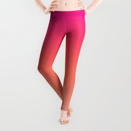 Gradient Ombre Living Coral Millennial Plastic Pink Pattern Peachy Orange Soft Trendy Cute Texture Leggings