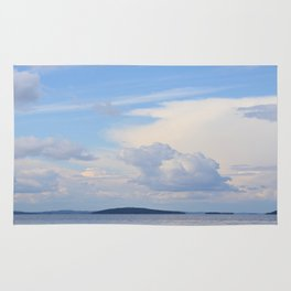 Blue Lakescape With White Clouds In The Blue Sky #decor #society6 Rug