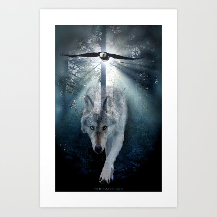 The Gathering - Wolf and Eagle Art Print