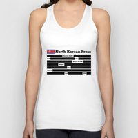 korea Tank Tops featuring North Korea News Paper by pollylitical
