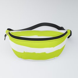 White and chartreuse Stripes Fanny Pack