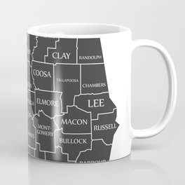 Modern Map - Alabama county map with labels USA illustration Coffee Mug