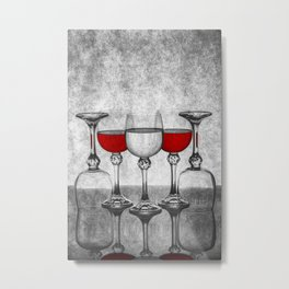 Still life with glass glasses with wine Metal Print