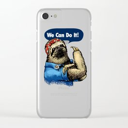 We Can Do It Sloth Clear iPhone Case
