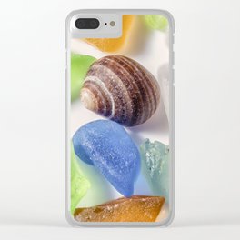 Tiny Sea shell and Beach Glass Clear iPhone Case