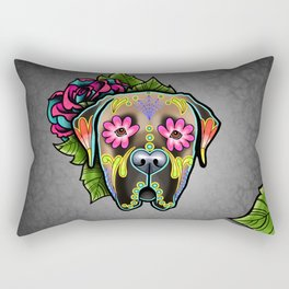 Mastiff in Fawn - Day of the Dead Sugar Skull Dog Rectangular Pillow