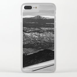 5280 Snowcap // Grainy Black & White Airplane Wing Landscape Photography of Colorado Rocky Mountains Clear iPhone Case
