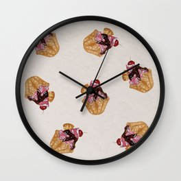Chocolate cakes watercolor pattern Wall Clock