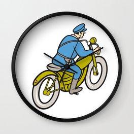 Highway Patrol Policeman Riding Motorbike Cartoon Wall Clock